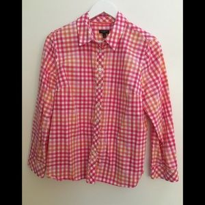 🍋Talbots Pink and Orange Check Blouse LP